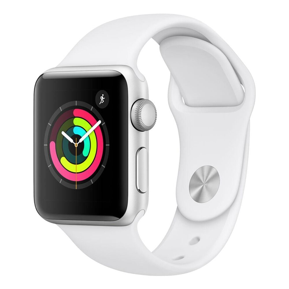 Apple Watch Series 3 (GPS) 42mm Silver Aluminum Case with White Sports Band, White, large