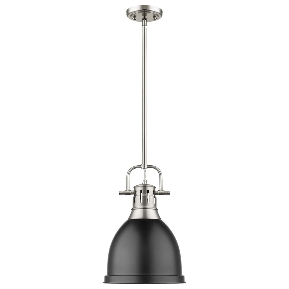 Golden Lighting Duncan Small Pendant in Matte Black with Rod in Pewter, , large