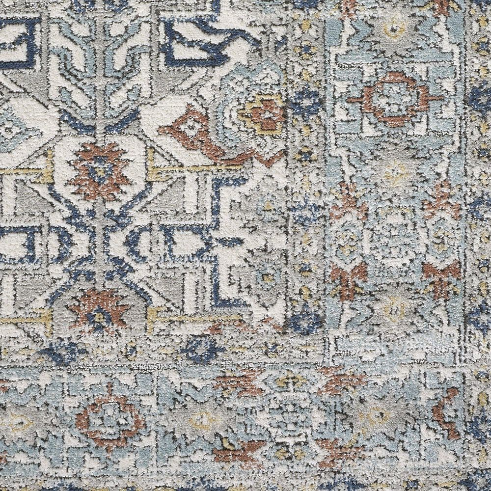 "Central Oriental Orient Dania 3822.04 7'10"" x 9'10"" Cream and Light Blue Area Rug, , large"