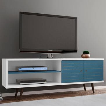 """Dayton Liberty 62.99"""" TV Stand in White and Aqua Blue, , large"""