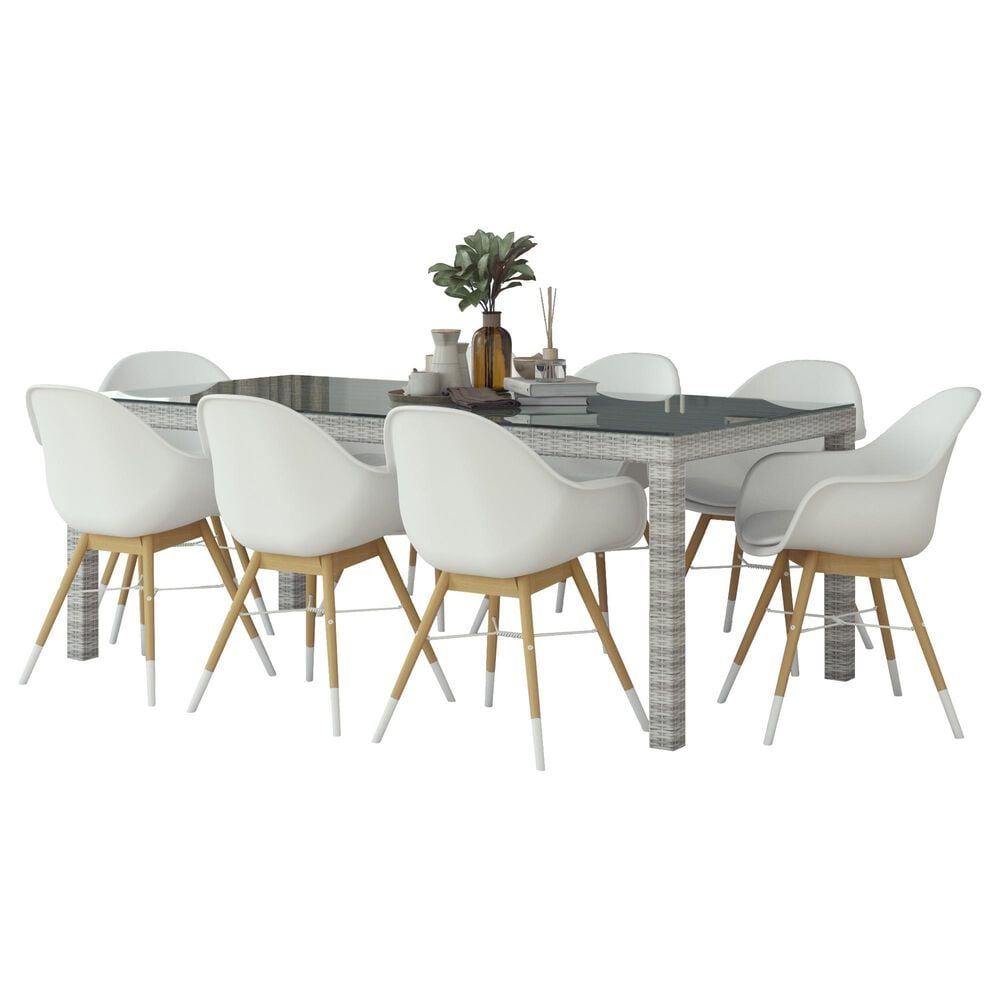 International Home Miami Midtown Concept 9-Piece Dining Set in Grey, Brown and White, , large