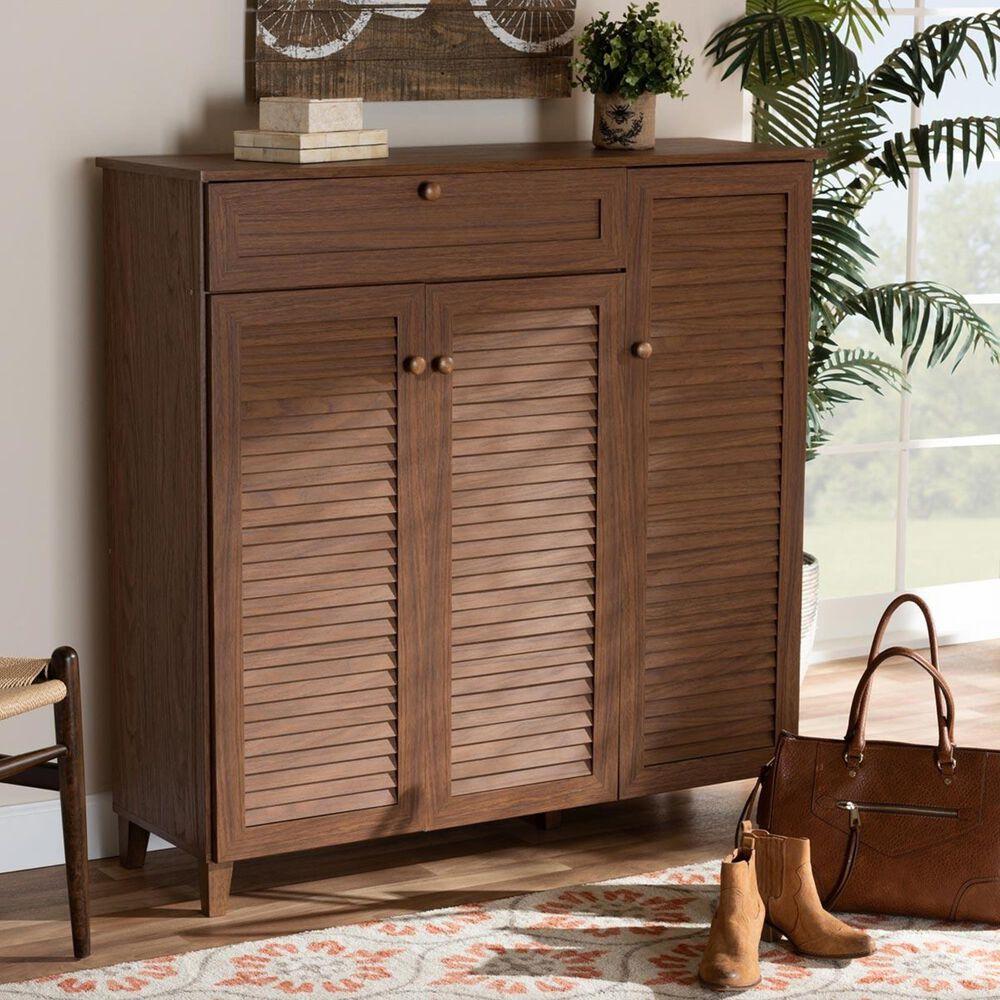 Baxton Studio Coolidge 11-Shelf Shoe Storage Cabinet in Walnut, , large