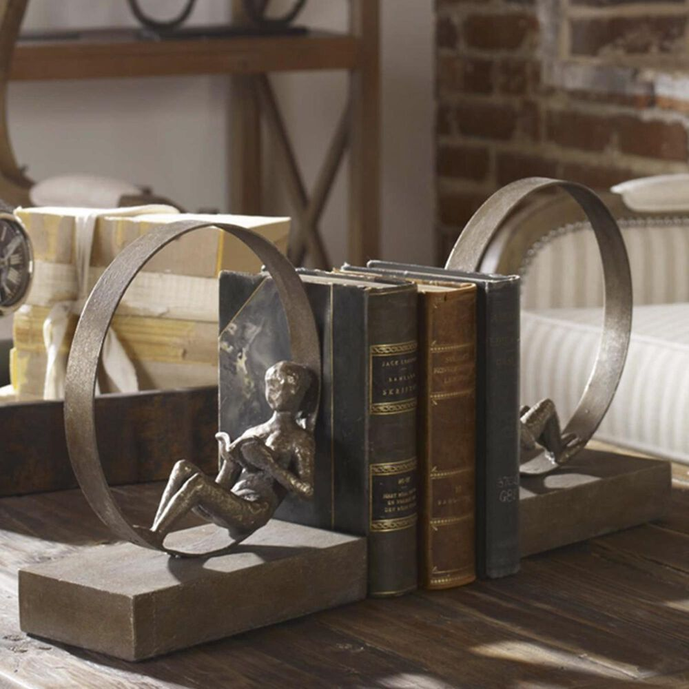 Uttermost Lounging Reader Antique Bookends (Set of 2), , large