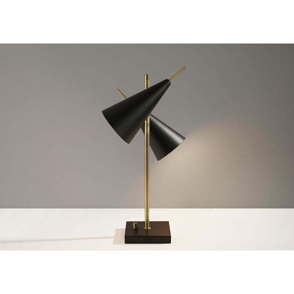 Adesso Owen Table Lamp in Antique Brass and Black, , large