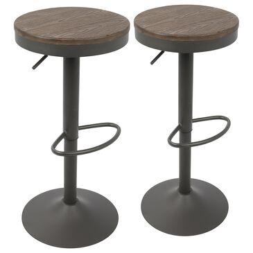 Lumisource Dakota Adjustable Barstool in Brown/Grey (Set of 2), , large