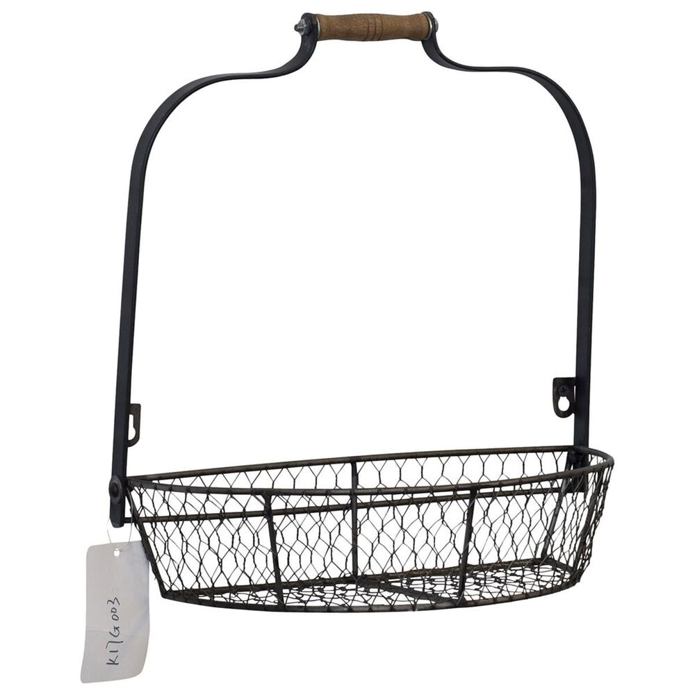 VIP Home and Garden Metal Wall Basket in Grey, , large