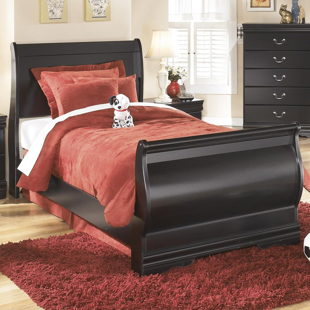 Signature Design by Ashley Huey Vineyard Twin Sleigh Bed in Black, , large