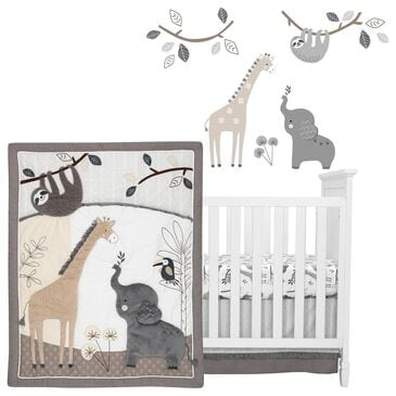 Lambs and Ivy Baby Jungle Animals 4-Piece Crib Bedding Set in Gray, White and Taupe, , large