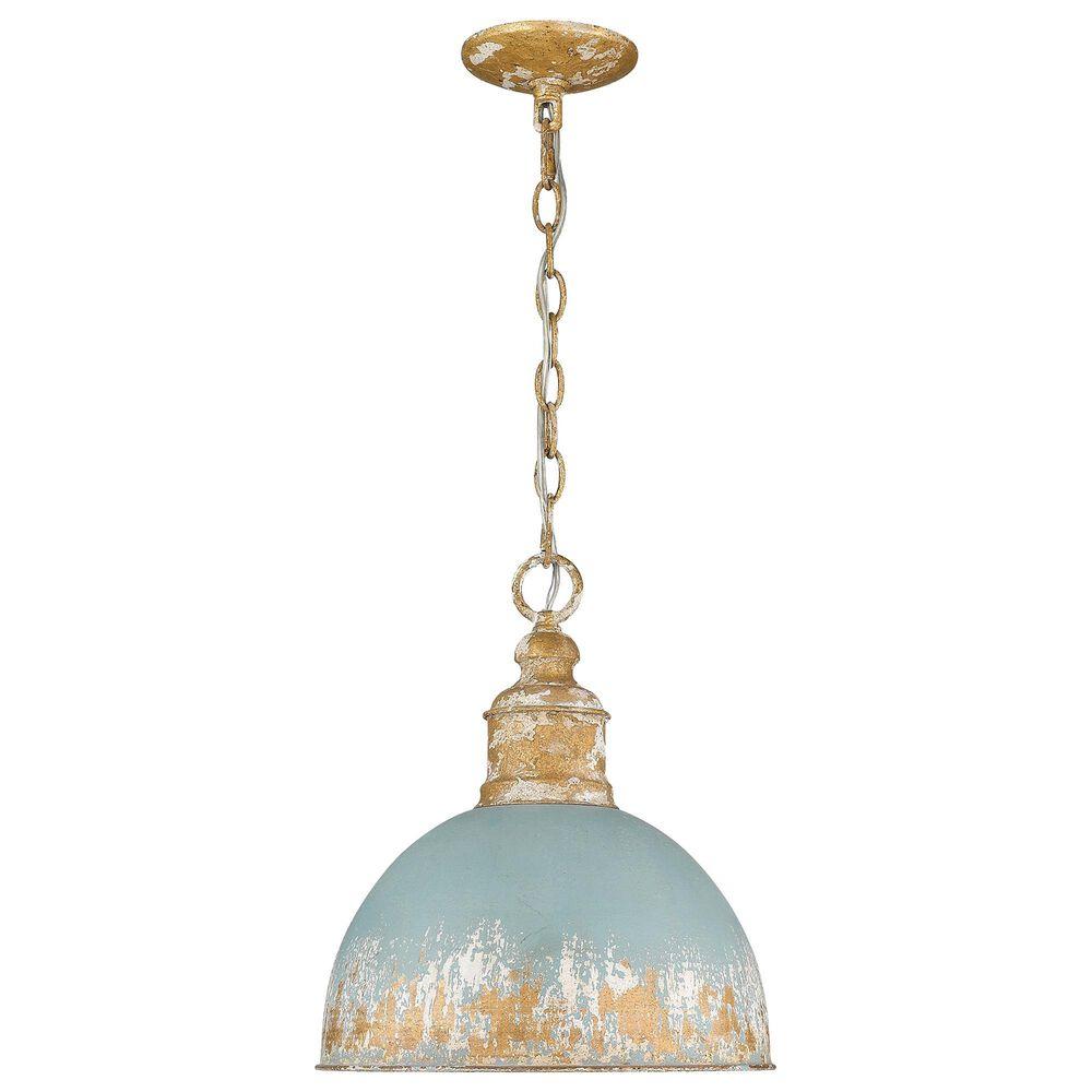 Golden Lighting Alison Medium Pendant in Vintage Gold and Teal, , large