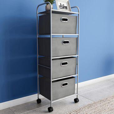 Timberlake Lavish Home 4-Drawer Storage Cart in Gray/Silver, , large