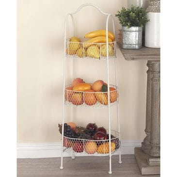 """Maple and Jade 41"""" x 15"""" 3-Tier Basket Rack in White, , large"""