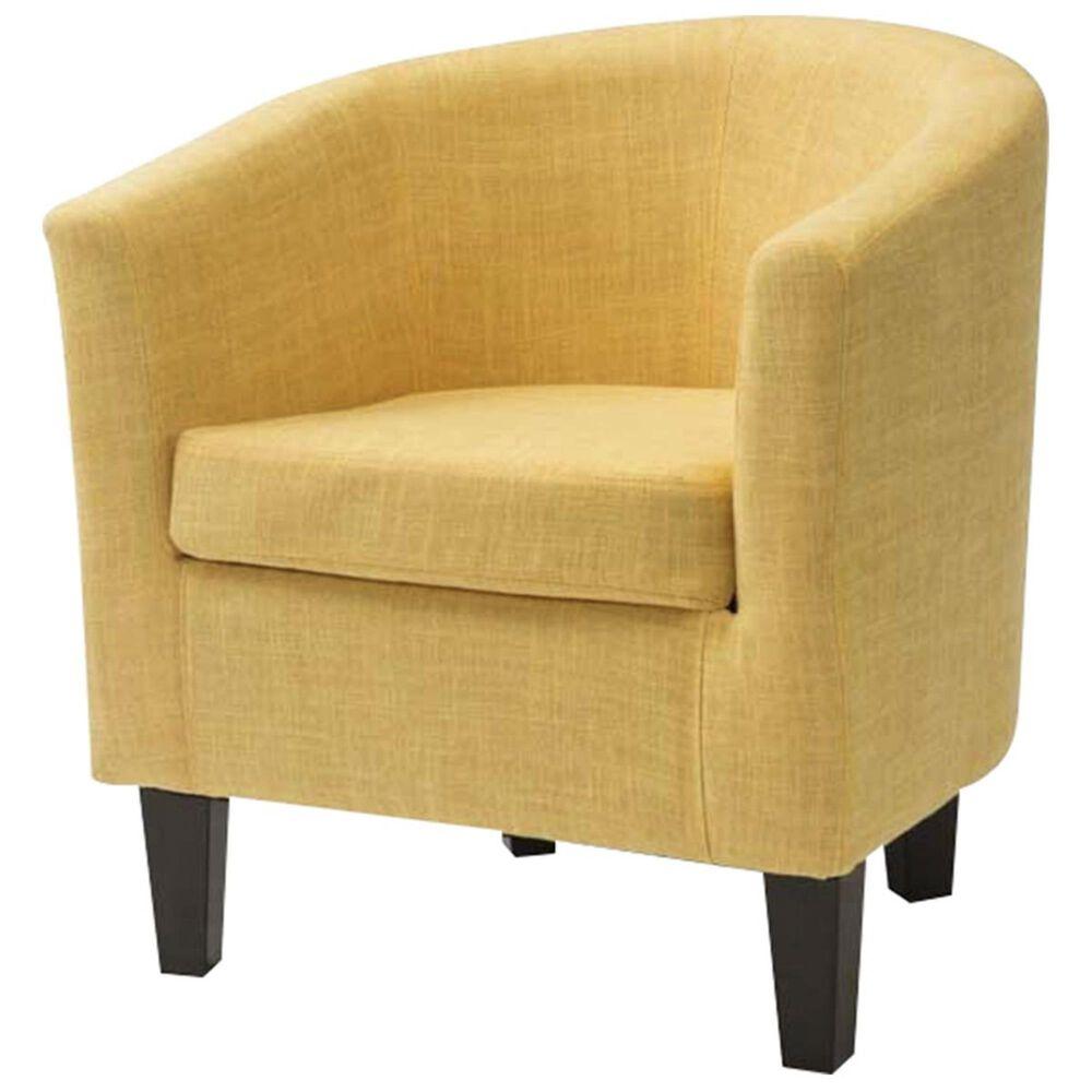 CorLiving Antonio Tub Chair with Dark Espresso Leg in Yellow, , large