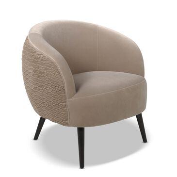 Jennifer Taylor Home London Mid-Century Modern Ruched Barrel Chair in Mink Velvet, , large
