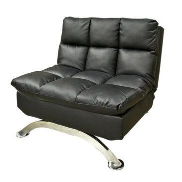 Condor Manufacturing Convertible Sleeper Chair in Black Faux Leather, , large