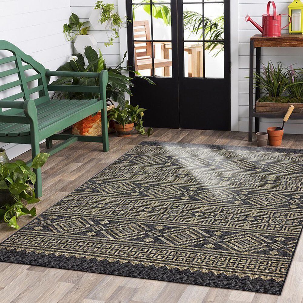L&R Resources Sun Shower 5' x 8' Black and Brown Indoor/Outdoor Area Rug, , large