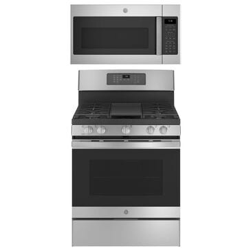 """GE Appliances 2-Piece Kitchen Package with 30"""""""" Gas Range and 1.9 Cu. Ft. Microwave Oven in Stainless Steel, , large"""