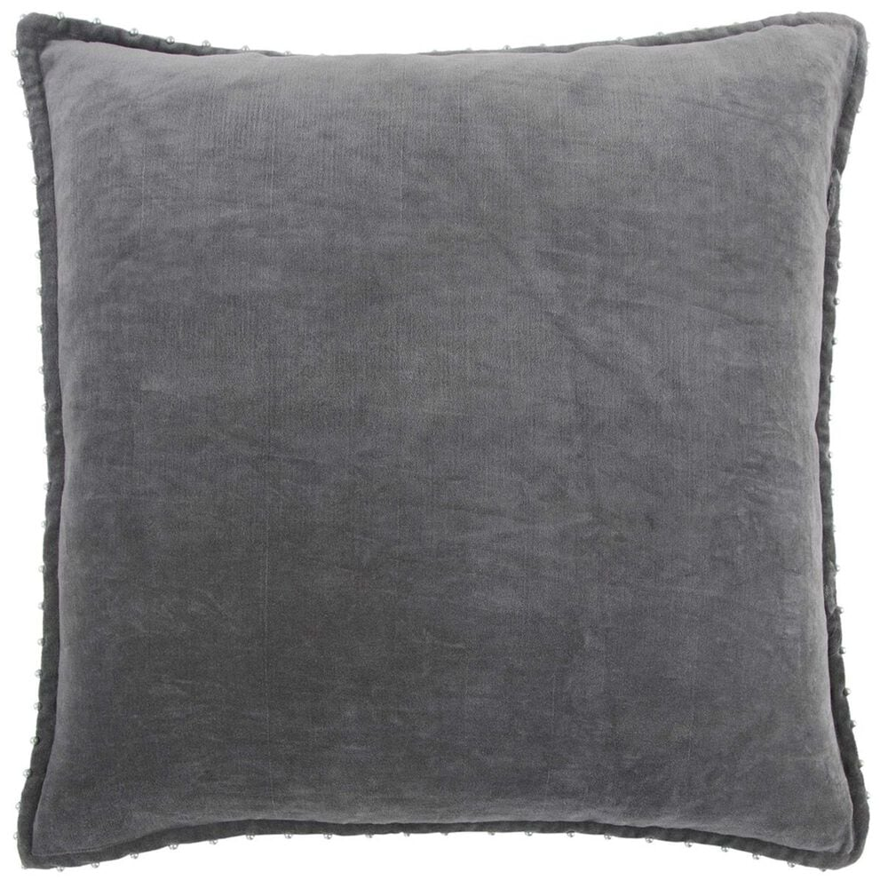 """Rizzy Home 22"""" x 22"""" Pillow Cover in Solid Dark Grey, , large"""