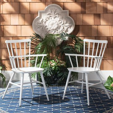 Safavieh Clifton Arm Chair in Matte White (Set of 2), , large