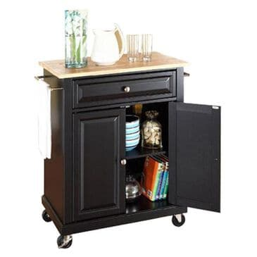 Crosley Furniture Natural Wood Top Portable Kitchen Cart in Black, , large