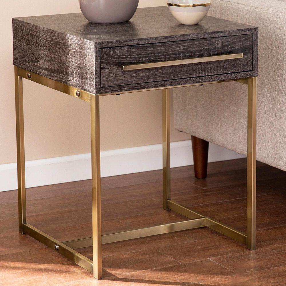Southern Enterprises Akmonton Storage End Table in Black Oak and Antique Brass, , large