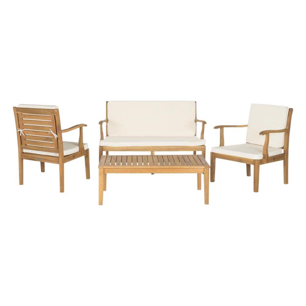 Safavieh Fresno 4-Piece Outdoor Living Set with Beige Seat in Teak Brown, , large