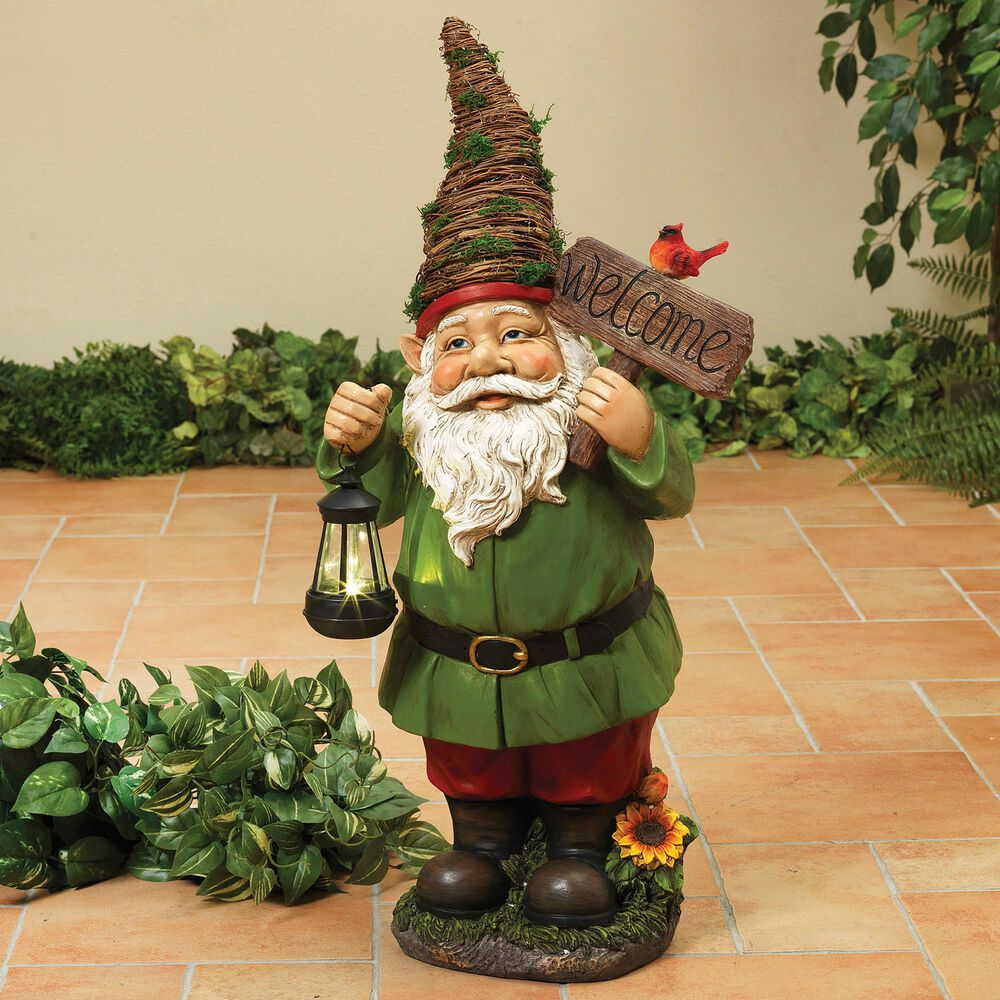 """The Gerson Company 30.7"""" Gnome Holding Solar Lantern in Green, , large"""