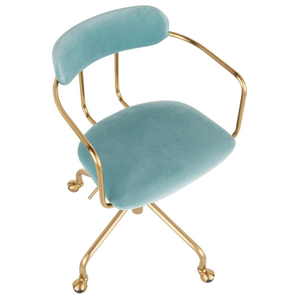 Lumisource Demi Office Chair in Light Blue/Gold, , large