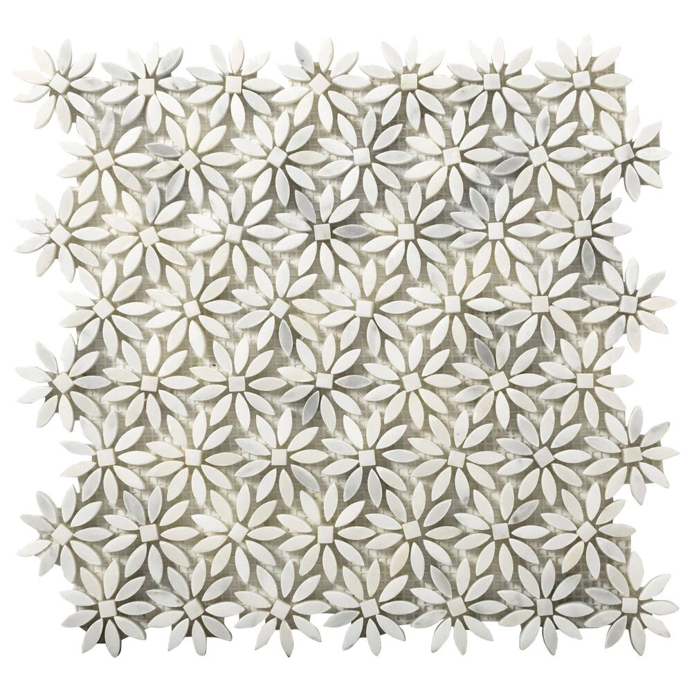 "Emser Winter Frost Daisy 12"" x 13"" Marble Mosaic Sheet, , large"