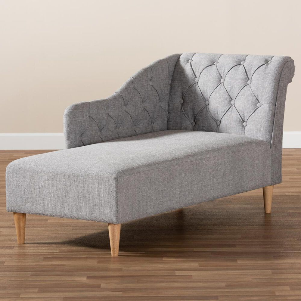 Baxton Studio Emeline Chaise Lounge in Gray, , large