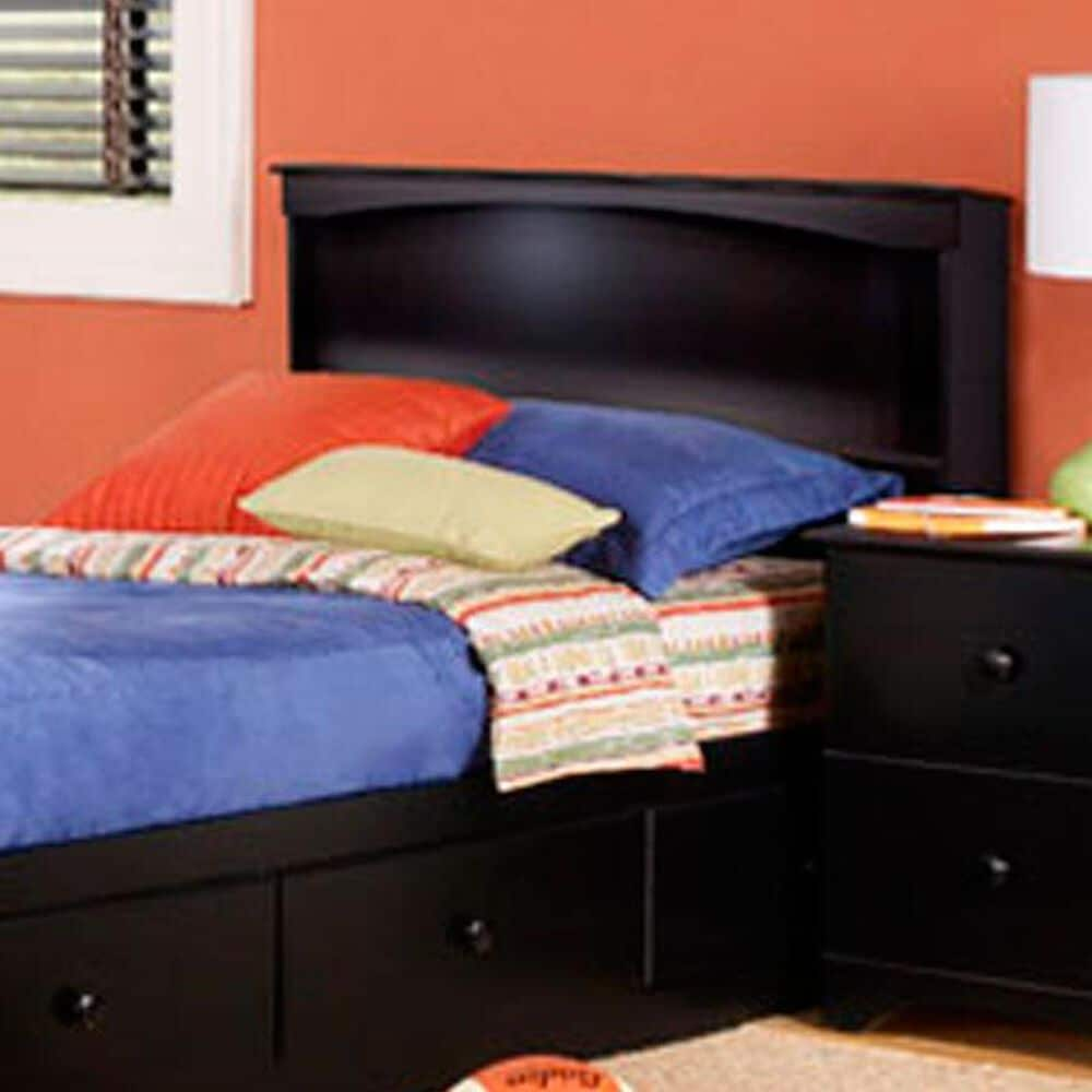 Lemoore Twin Bookcase Headboard in Solid Black, , large