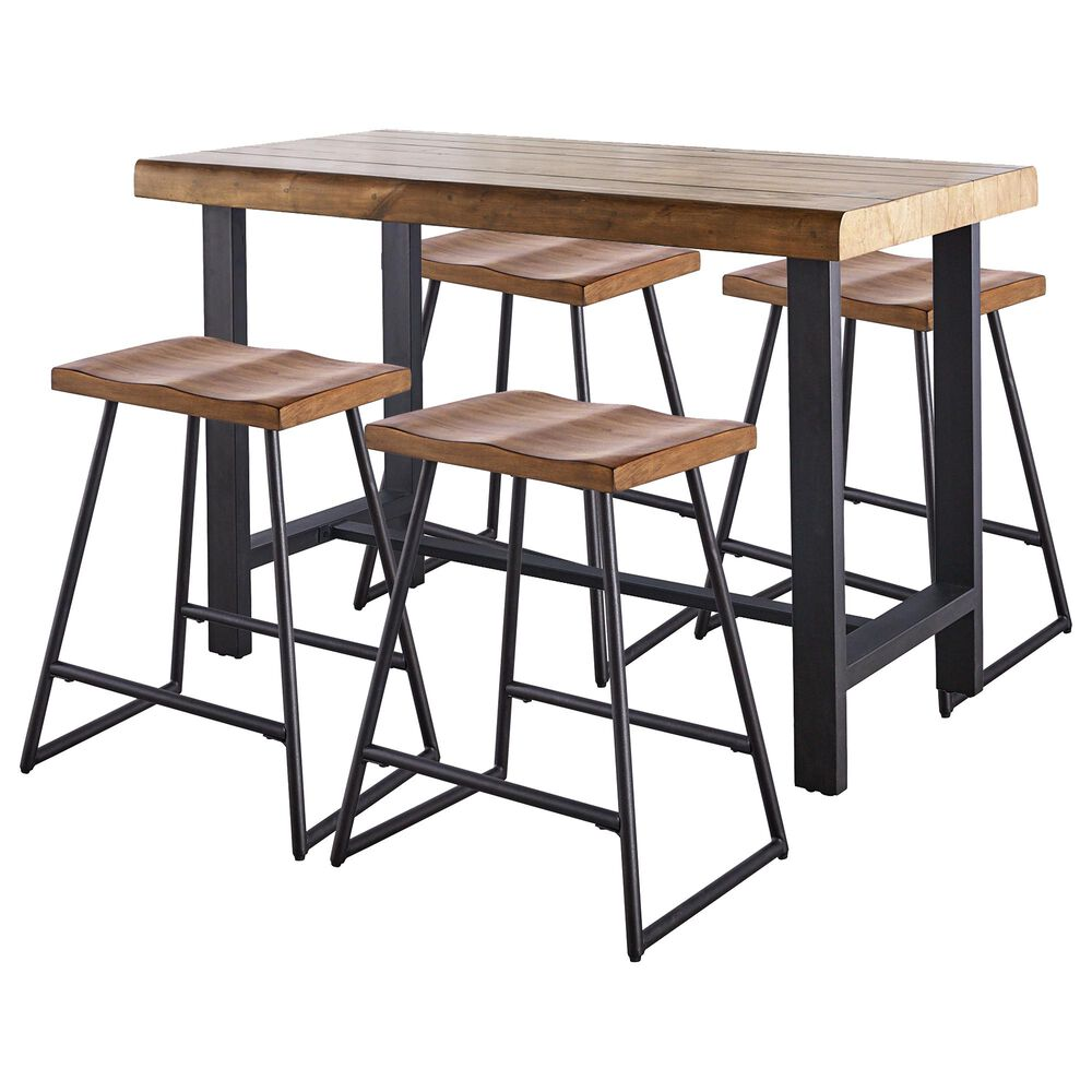 Steve Silver Landon Counter Table and 4 Stools in Natural Honey, , large