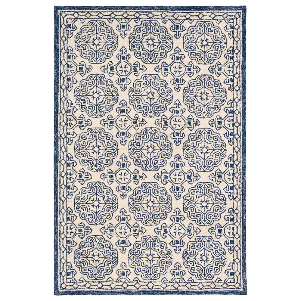 Surya Granada GND-2303 4' x 6' Dark Blue, Denim and Ivory Area Rug, , large