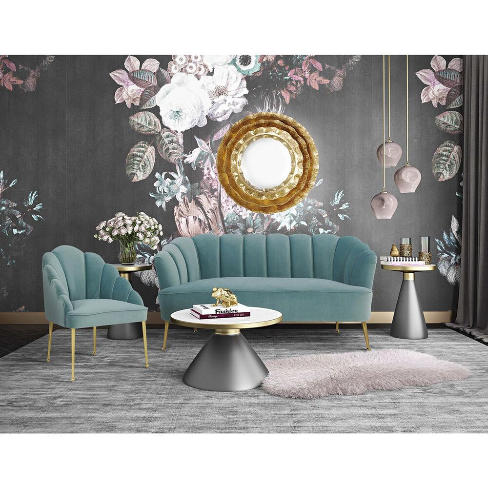 Tov Furniture Daisy Velvet Chair in Sea Blue, , large