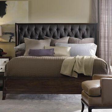 Hooker Furniture Palisade Upholstered Shelter Queen Bed in Figured Walnut, , large