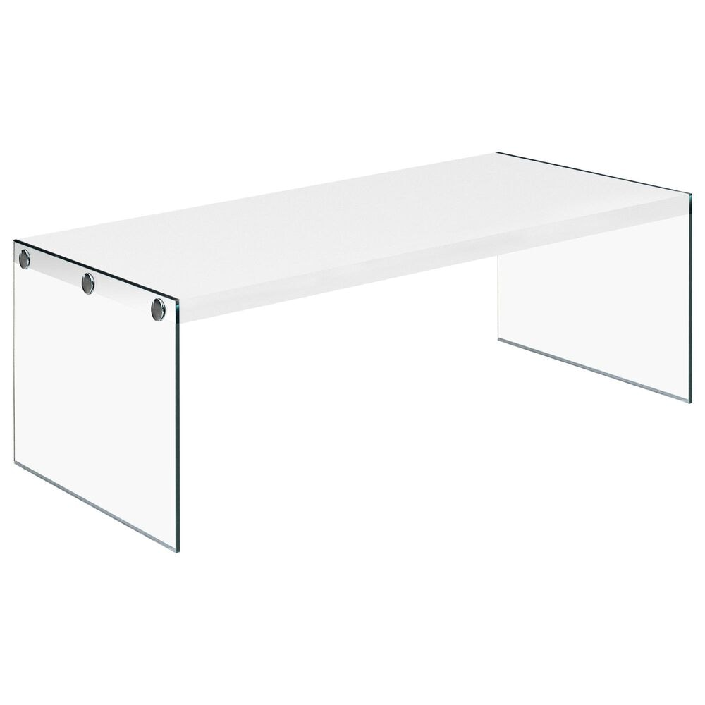 Monarch Specialties Coffee Table in White with Glossy Finish, , large