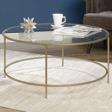 Studio Edge International Lux Round Coffee Table in Satin Gold, , large