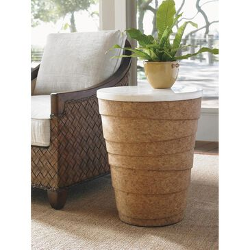 Tommy Bahama Home Island Fusion Kendari Round Accent Table in White and Brown, , large