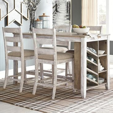 Signature Design by Ashley Skempton 5-Piece Counter Height Dining Set in White and Light Brown, , large