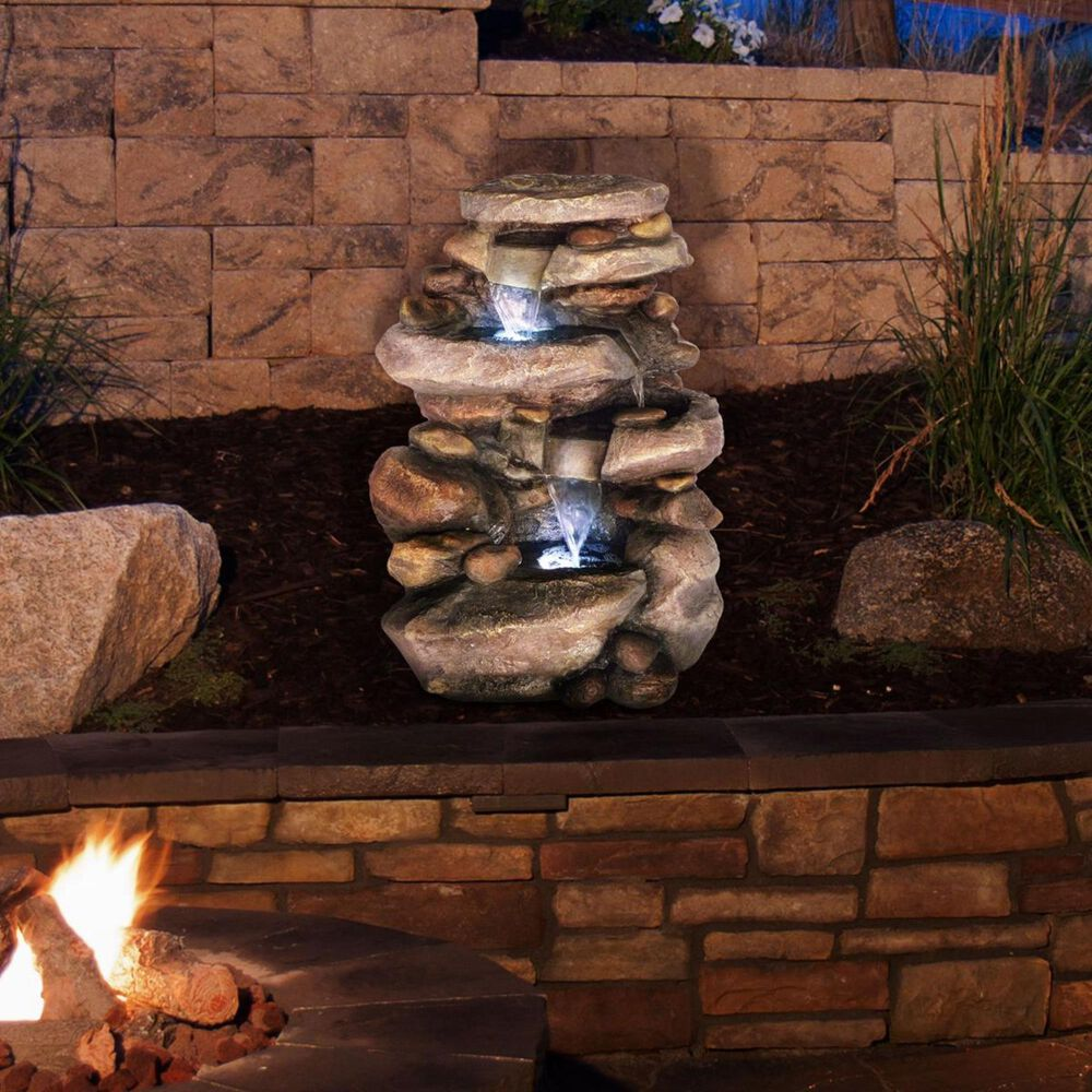 Timberlake Stone Waterfall Fountain with LED Lights, , large