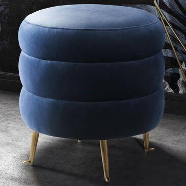 Tov Furniture Ladder Velvet Ottoman in Blue, , large