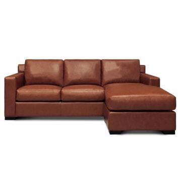 GTR Leather Inc. Madison 3 Seat Sofa with Chaise in Soleil Luggage Brown, , large