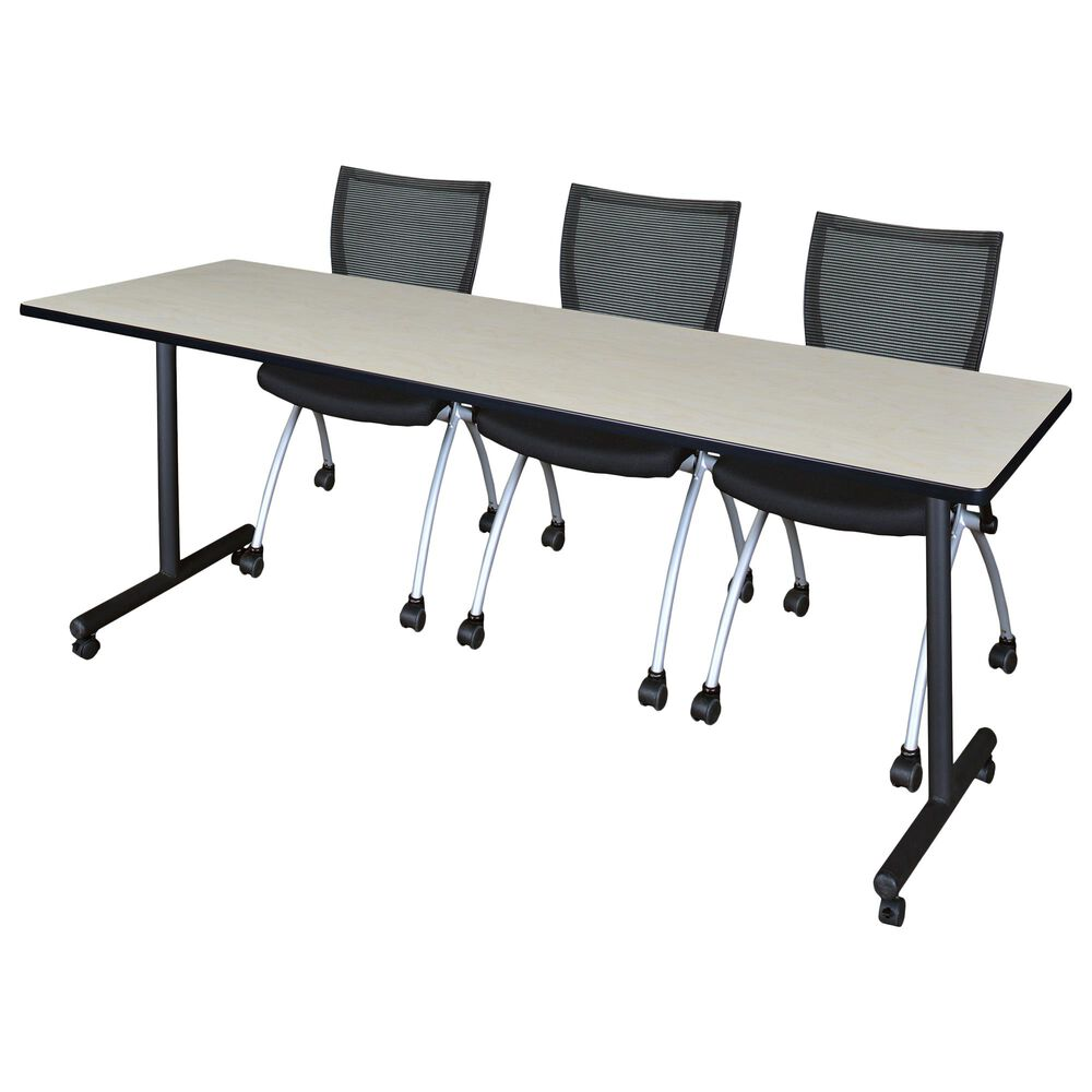 Regency Global Sourcing Kobe 4-Piece Training Table Set in Maple/Black, , large