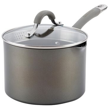 Circulon Cookware 3 Quart Covered Straining Saucepan with Pour Spouts in Oyster Gray , , large