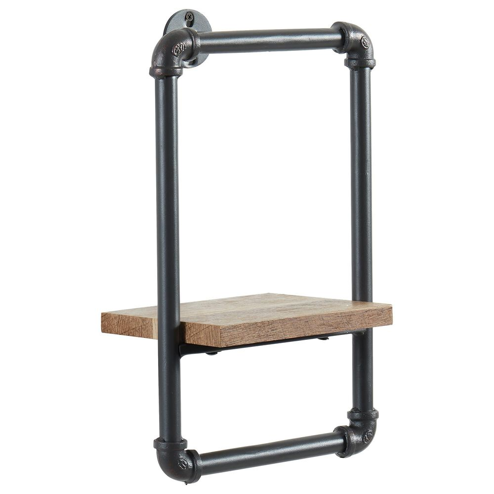 "Furniture of America Dennis 16.25"" x 10"" Wall Shelf in Sand Black, , large"