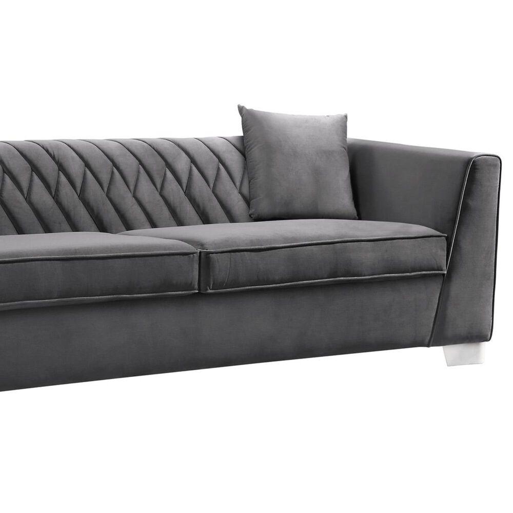 Blue River Cambridge Sofa in Dark Gray Velvet and Stainless Steel, , large
