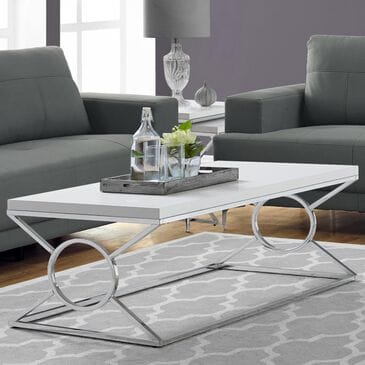 Monarch Specialties Coffee Table in Glossy White and Chrome, , large