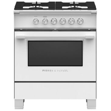 """Fisher and Paykel 30"""" Freestanding Classic Gas Range in White, , large"""