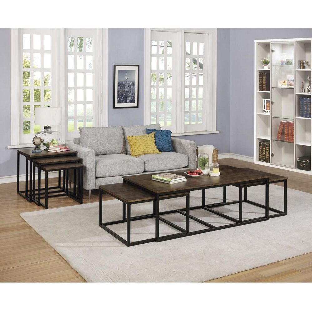 """Bolton Furniture Arcadia 54"""" Coffee Table with Nesting Tables in Antique Mocha, , large"""