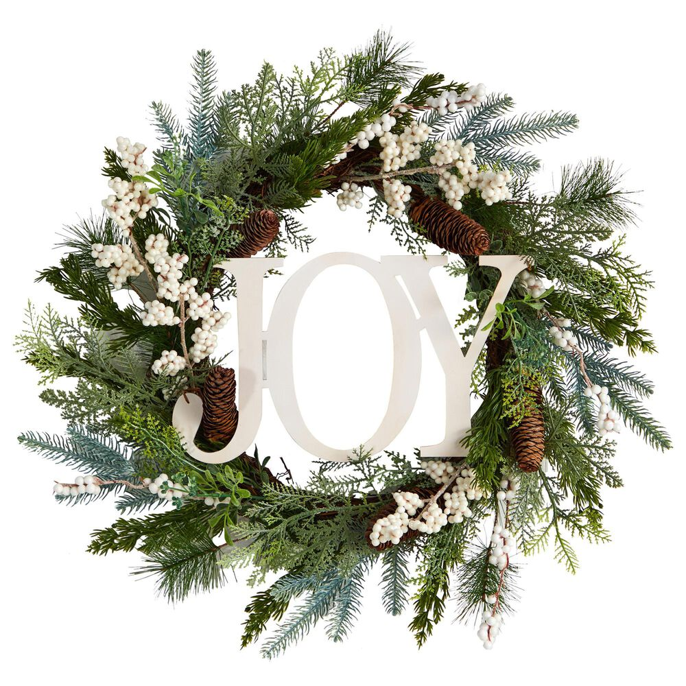 Nearly Natural Inc 24in. Christmas Joy Greenery Holiday Artificial Wreath, , large