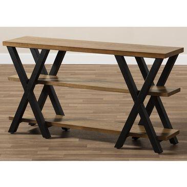 Baxton Studio Duchaine Console Table in Dark Oak Brown and Dark Bronze, , large